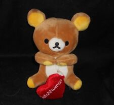 "7"" SAN-X RILAKKUMA BROWN BABY TEDDY BEAR W RED HEART STUFFED ANIMAL PLUSH TOY"