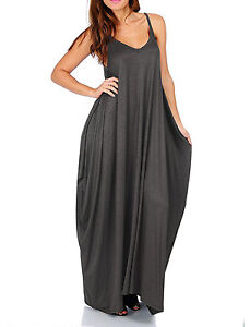 Women's Solid Loose Fit Harem Spagetti Strap Full Dress(Size:S-5X PLUS) USA