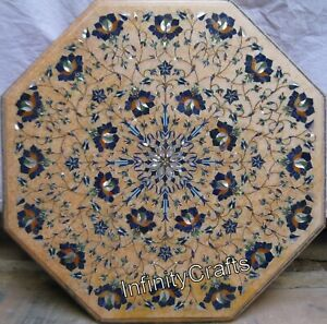 19 x 19 Inches Marble Coffee Table Top Octagon Shape End Table with Inlay Work