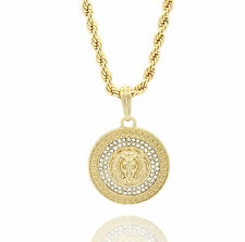 """Mens Medallion Patern Lion Gold Plated 24"""" Rope Chain Pendant Necklace"""