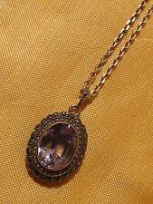 Ancien pendentif pierre topaze bleue marcassites en argent et sa chaîne argent