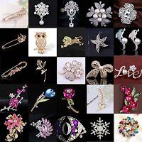 Gold/Silver Enamel Rhinestone Crystal Flower Wedding Bridal Bouquet Brooch Pin
