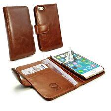 Tuff Luv Personalizado Piel Auténtica Estilo Cartera Funda Para IPHONE 6s-Brown