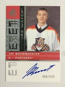 2002-03 SP AUTHENTIC FUTURE WATCH AUTO #187 JAY BOUWMEESTER FWA RC /999