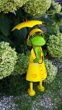 Gartenfigur Frosch mit Schirm Gartendeko Metallfigur Regen Landhaus Tierfigur