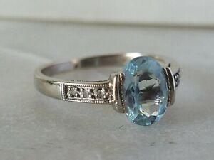 Vintage Inspired Aqua Marine Gemstone & Diamond Ring (March Birthstone)