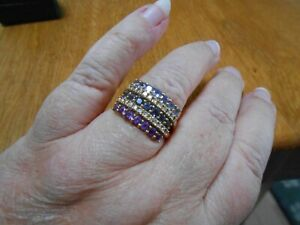 9CT TANZANITE/AMETHYST/SAPPHIRE/DIAMOND CLUSTER RING..YELLOW GOLD..VERY PRETTY
