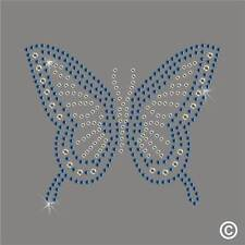 BLUE BUTTERFLY Rhinestone Iron-On Diamante Transfer Hotfix applique Motif Gem