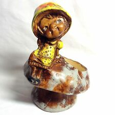 "Vintage Folk 9"" x 7"" Ceramic Planter/Pot Girl Sitting on a Mushroom Made In USA!"