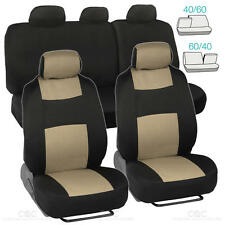Tan/Black Car Seat Covers Set 5 Headrests 60/40 Split Bench for Auto SUV - 9pc