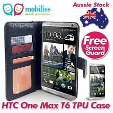 HTC One Max Black PU Leather TPU In Wallet Case Cover Free Screen Protector