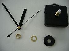 CLOCK MOVEMENT QUARTZ . LONG SPINDLE. 90mm BLACK HANDS