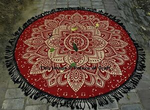 Red Gold Mandala Ombre Indian Roundie Beach Throw Hippie Tapestry Yoga Mat Gypsy