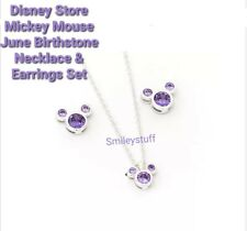 More details for genuine disney store mickey mouse purple june birthstone earrings & necklace set