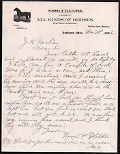 1906 Ashland Ohio - Horse Dealers - Norris & Fletcher - Letter Head Rare History