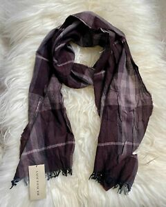Authentic BNWT 200*45cm Burberry Check Metallic Wool & Cashmere Long Scarf