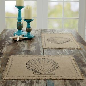 "VHC Brands Coastal 12""x18"" Seashells Placemat Set of 6 Tan Kitchen Table Decor"