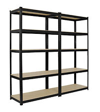 2 x Heavy Duty Boltless Shelving Rack 5 Tier Home Warehouse Shop Display Garage