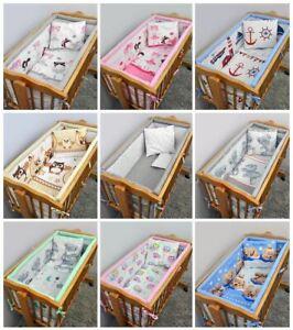 3 5 6 Piece Baby Bedding Set All Round Cot Bumper Fits 90x40 Swinging Crib