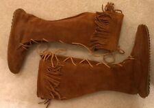 EUC! Womens Minnetonka Tan Suede Knee High Lace Up Fringe Boots Sz 8  Cool Style