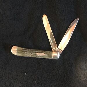 Case green bone handle trapper knife, stainless steel USA made. year 1995.