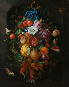 Festoon of Fruit and Flowers de Heem Dutch botany wall fine art poster print