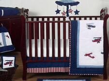 Red Blue White Vintage Airplane Planes Bumperless For Baby Boy Crib Bedding Set