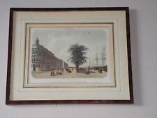 """THE YACHT CLUB AND NEW BUILDINGS"" - ANTIQUE LITHOGRAPH BY G. J. BOS, C 1854"