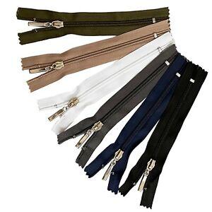 Black Navy Khaki Chunky White Zip No #5 Plastic Zipper Closed End 3.9 - 7.8 inch