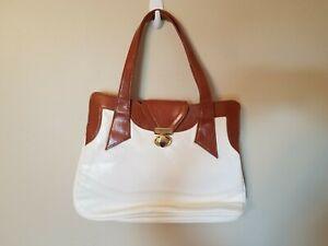 Vintage Shoulder Bag Handbag Purse White Brown Multi Compartment Career