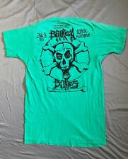Vintage BROKEN BONES 1985 Concert T Shirt Working Crew NOS punk rock band thrash