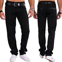 Herren Coated Denim Glanz Stoffhose schwarz Slim Fit glänzend Jeans Style Casual