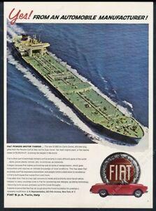 1966 Fiat Spider red car & oil tanker photo vintage print ad