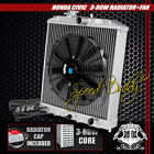 "3-ROW/CORE ALUMINUM RADIATOR+12"" BLACK COOLING FAN 92-00 HONDA CIVIC EG/INTEGRA"