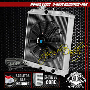 "3-ROW/CORE ALUMINUM RADIATOR+12"" BLACK COOLING FAN 92-00 HONDA CIVIC EG/INTEGRA"