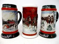 Lot of 3 Budweiser Christmas Collectible Steins 1991 1992 2004