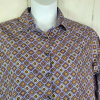 Lands End Womens No Iron Supima Half Sleeve Blouse Shirt Size 16 Purple NWOT