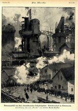 Milieustudie von Fritz Koch-Gotha Oberschlesien Hüttenwerk 1921