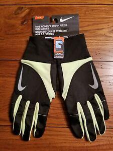 NWT Womens Nike Storm Fit 2.0 Run Gloves Black Neon Yellow Light Gray M