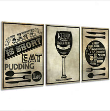Kitchen Wall Art Pictures Framed Canvas Prints x 3