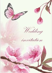 Blossom & butterfly wedding invitation card available in pack of 5,10 or single