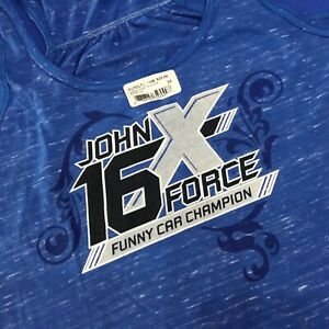NHRA DRAG RACING 16X Champion JOHN FORCE Ladies Racer Back Tank Shirt XL $32 NWT