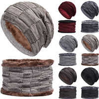 2Pcs Mens Womens Winter Fleece Knitted Slouch Beanie Hat Warm Neck Scarf Ski Set