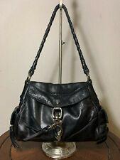 FRANCESCO BIASIA Black Leather Shoulder Shopper Flap Tote Clip-Lock Purse Bag