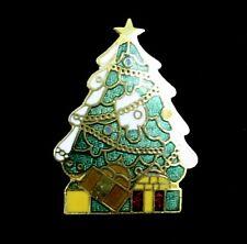 ERROR in Enamel CHRISTMAS TREE PIN Vintage Brooch Snow, Goldtone Gift Creations