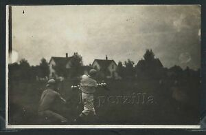 RPPC 10's BASEBALL BATTER SWINGS BAT as CATCHER POISED to CATCH BALL One of Kind