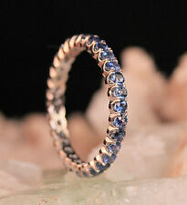 1.0 Carat Blue Sapphire French Pave Eternity Ring Wedding Band in 14k White Gold