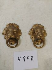 Antique Ingraham Mantle Clock Knocker Style Lion'S Heads Side Decorations