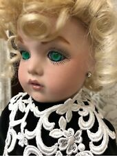 Reproduction Antique French Bru Jne 13 w/ Rare Green Eyes Wig/ 21� Tall Dress