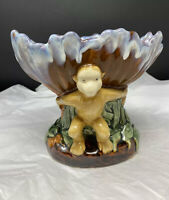 Vintage 60s Majolica Ceramic Pottery Monkey Centerpiece Fruit Bowl Tiki Mug
